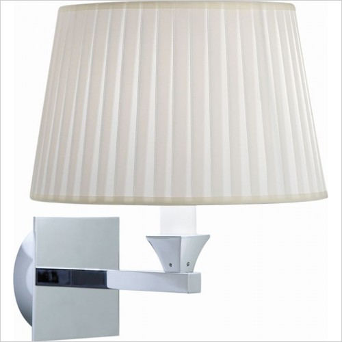 Imperial Bathrooms - Astoria Wall Lamp With Round Flat Pleated Cotton Shade