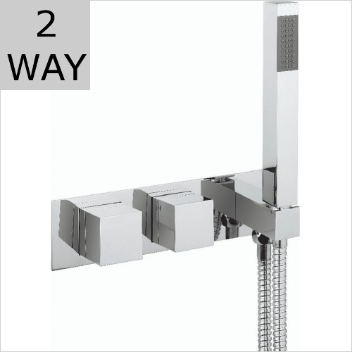 Crosswater - Water Square 2 Way Thermostatic Valve With Shower Handset