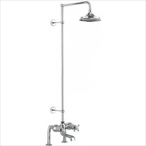 Burlington - Tay Deck Mounted Bath Shower Mixer, Rigid Riser & Fixed Head