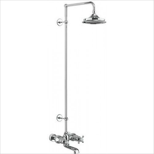 Burlington - Tay Wall Mounted Bath Shower Mixer, Rigid Riser & Fixed Head