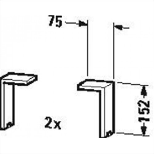 Duravit - Plinth Leg 2 Pieces 130x70x65mm