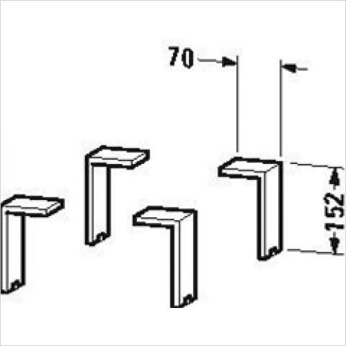 Duravit - Plinth Leg 4 Pieces 130x70x65mm