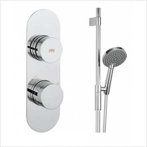Crosswater - Dial Valve 1 Control With Central Trim & Shower Rail Set