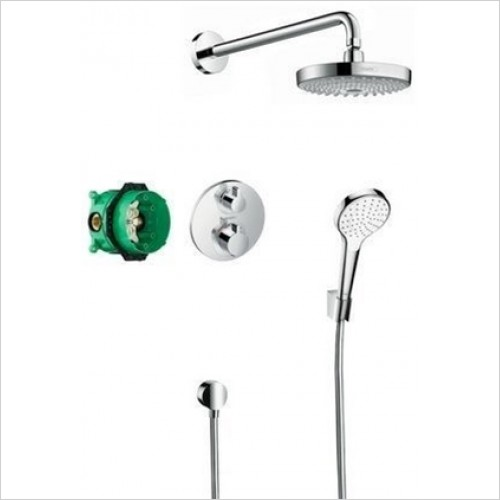 Hansgrohe - Ecostat S Design Shower Set With Overhead & Handshower