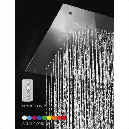 Crosswater - Square Recessed Shower Head With Lights 380mm