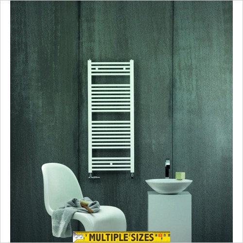 Zehnder - Aura Straight White Towel Rail 1469 x 600mm