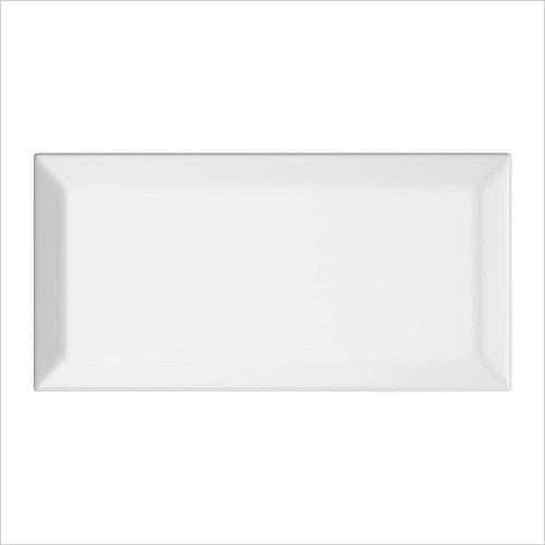 Park Street Bathrooms - Metro Bevelled White Gloss Ceramic Wall Tile 200 x 100mm