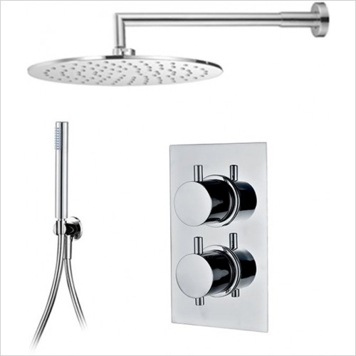 Art Of Living - Emotion Round Thermostatic Shower, Round Head & Handshower