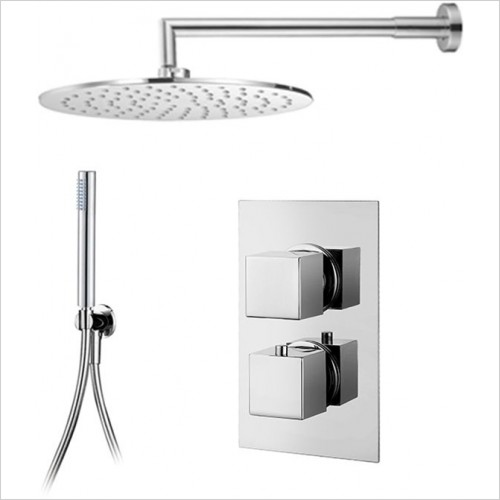 Art Of Living - Emotion Square Thermostatic Shower, Round Head & Handshower