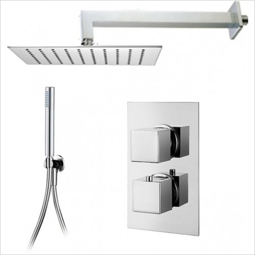 Art Of Living - Emotion Square Thermostatic Shower, Square Head & Handshower