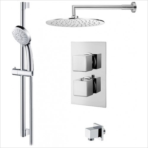 Art Of Living - Emotion Square Thermostatic Shower, Fixed Head & Riser Rail