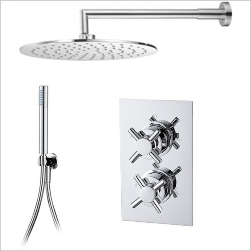 Art Of Living - Emotion Cross Thermostatic Shower, Round Head & Handshower