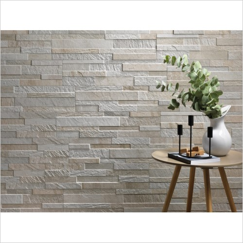 Park Street Bathrooms - Split Face White Decor Wall Tile 600 x 150mm