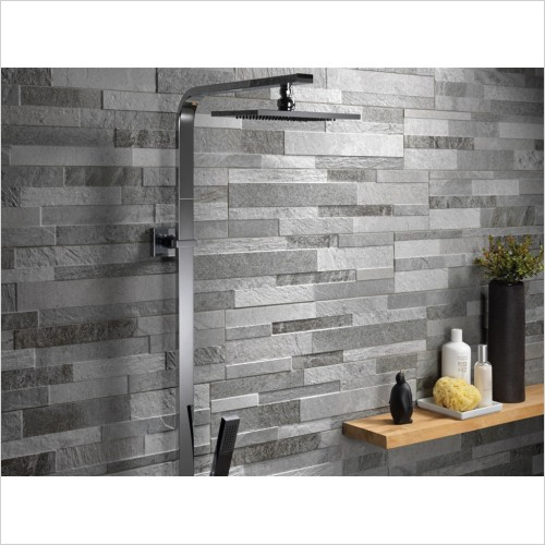 Park Street Bathrooms - Split Face Grey Decor Wall Tile 600 x 150mm