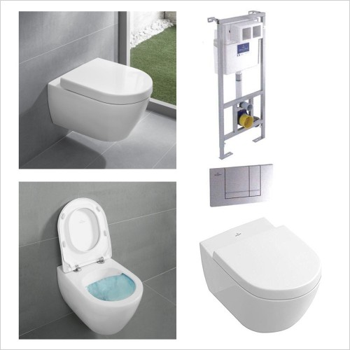 Villeroy & Boch - Subway 2.0 Rimless WC, Seat 1.12m Frame & Flush Plate