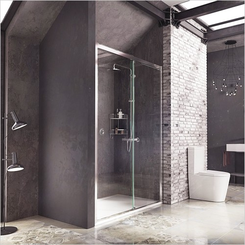 Roman Showers - Decem Slider With Finger Pull Handle 1200mm For Corner Left