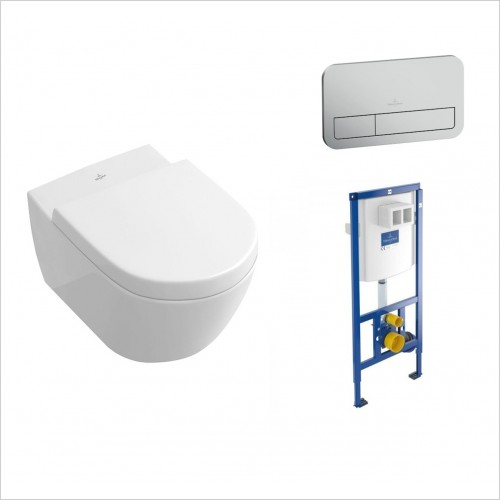 Villeroy & Boch - Soho Wall Hung WC, Soft Close Seat & 1.12m Frame