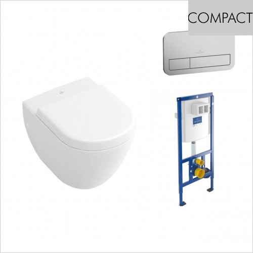 Villeroy & Boch - Subway Compact Wall Hung WC, Seat & 1.12m Frame Pack