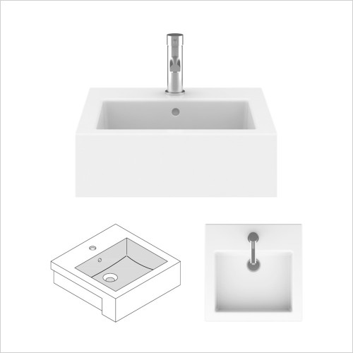 Crosswater - Kai 480 Semi Recessed Basin With Overflow