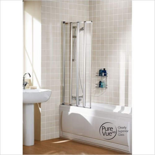 Lakes Bathrooms - Classic Four Panel Framed Bath Screen 730mm