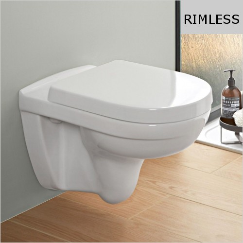 Villeroy & Boch - O.Novo Compact Rimless Wall Hung WC & Soft Close Seat Pack