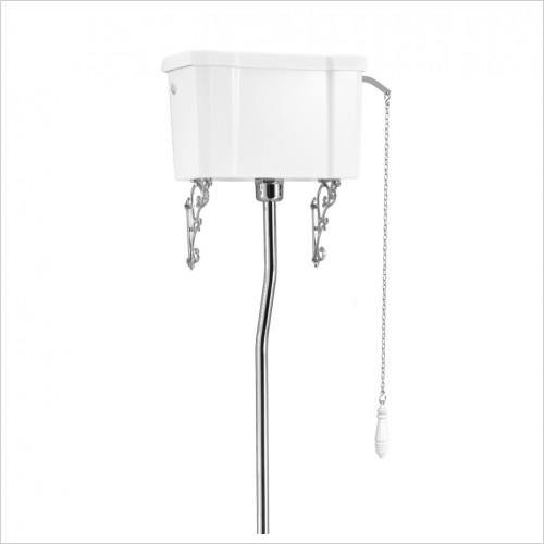 Burlington - High Level Ceramic Single Flush Cistern, White Handle