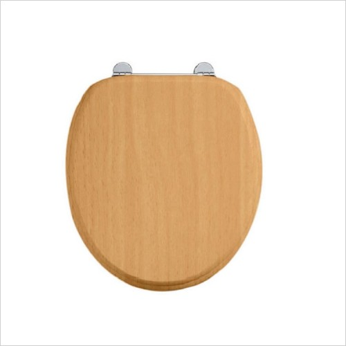 Burlington - Solid Wood Soft Close Toilet Seat With Chrome Hinges