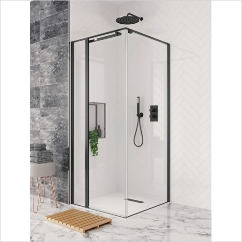 Crosswater - Design+ Matt Black Hush Pivot Door & Inline 800mm