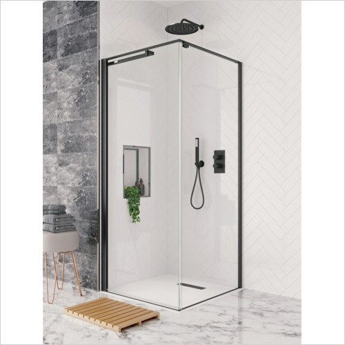 Crosswater - Design+ Matt Black Hush Pivot Door For Side Panel 800mm