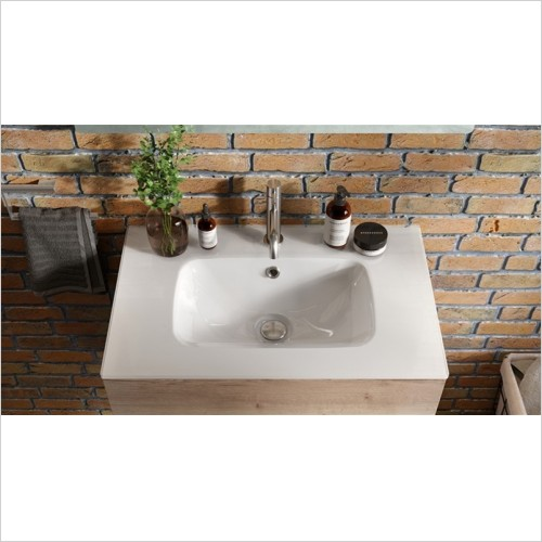 Crosswater - Glide II 70 Ice White Glass Basin, 1 Tap Hole