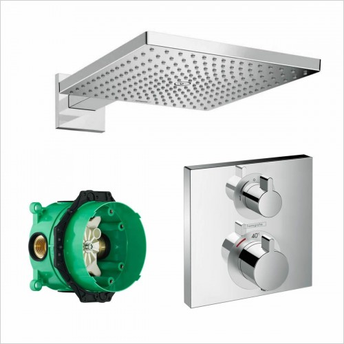 Hansgrohe - Square Valve With Raindance 300 Overhead
