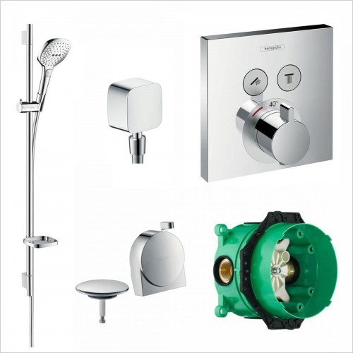 Hansgrohe - Square Select Valve With Raindance Select Rail Kit & Exafill