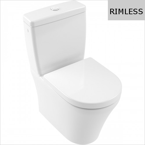 Villeroy & Boch - O.Novo Close Coupled WC, Rimless, Back To Wall, Compact